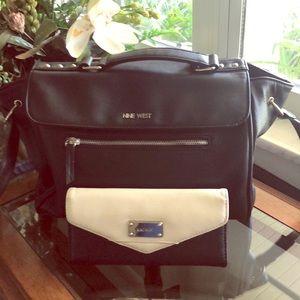 Nine West Block Satchel /Shoulder Bag & Wallet Set